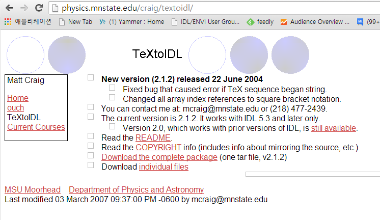 TexToIDL을 배포하는 페이지. 버전업은 필요치 않아서 옛버전 그대로.