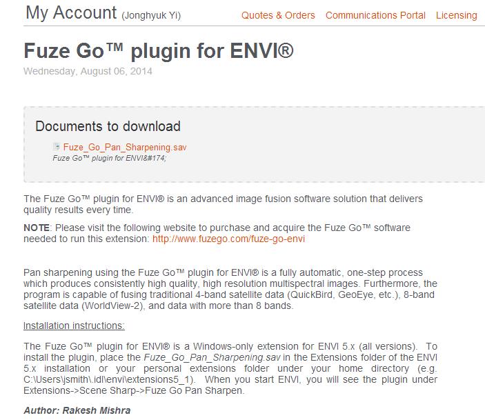 Exelis VIS의 Extensions 페이지에 소개된 Fuze Go
